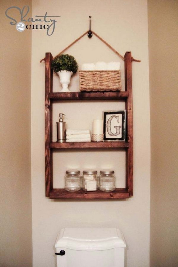 DIY Hanging Bathroom Shelf Over The Toilet