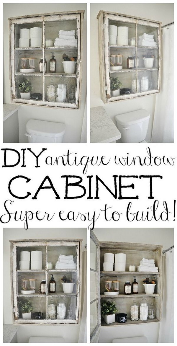 DIY Antique Window Cabinet.