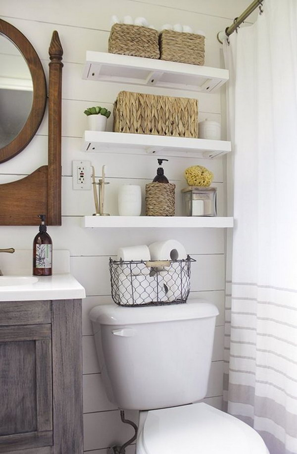 Over The Toilet Open Shelves With Baskets For Storage.