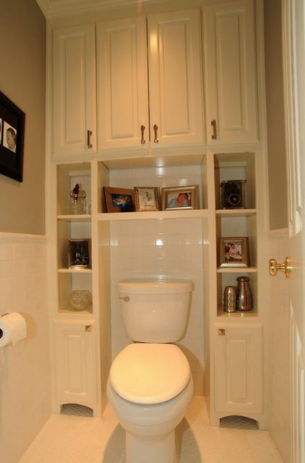 Built In Bathroom Cabinets Surrounding Toilet
