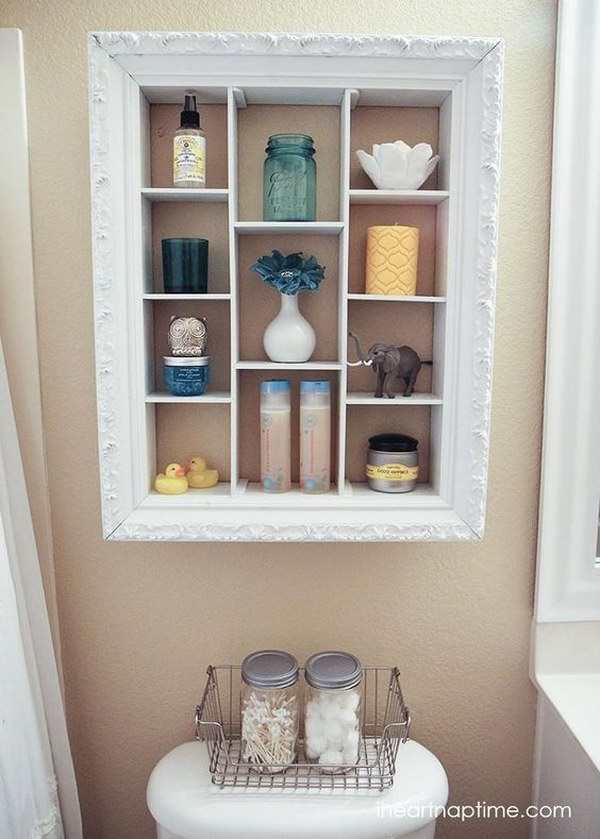 DIY Over The Toilet Storage Unit Repurposed From An Old Picture Frame