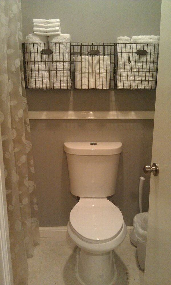 Bathroom Towel Storage Over The Toilet.