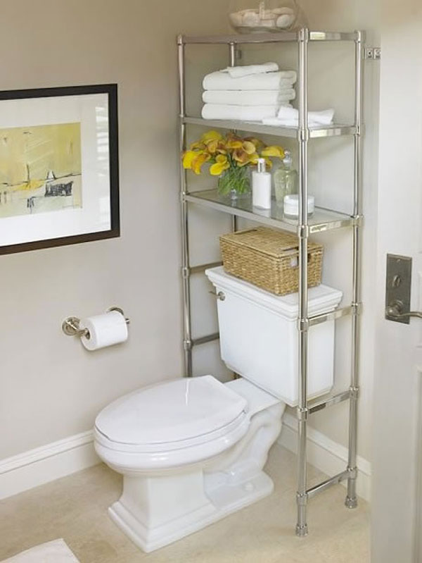 Space Saving Chrome Steel Rack For Modern Bathroom Storage