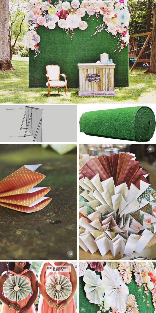 DIY Pinwheels And Fake Flowers Photo Booth Backdrop Tutorial