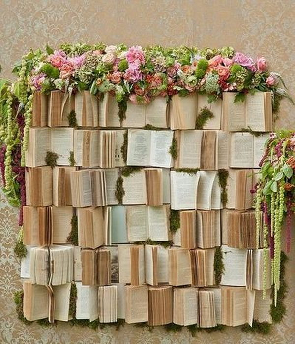 Books And Flowers Wedding Photo Booth Backdrop