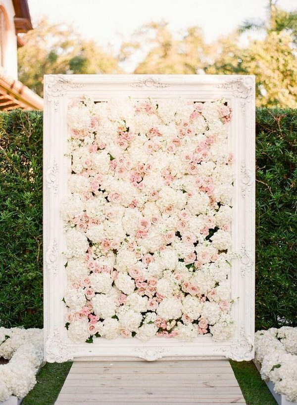 Amazing DIY  Framed Floral Ceremony Photo Booth Backdrop