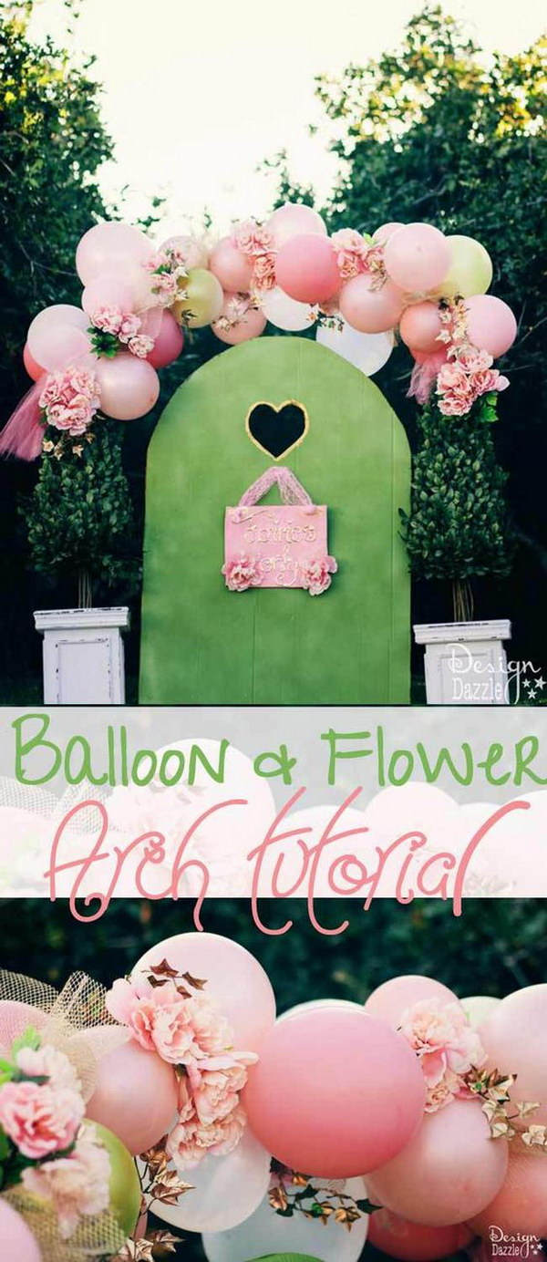DIY Beautiful Balloons And Flowers Photo Booth Backdrop