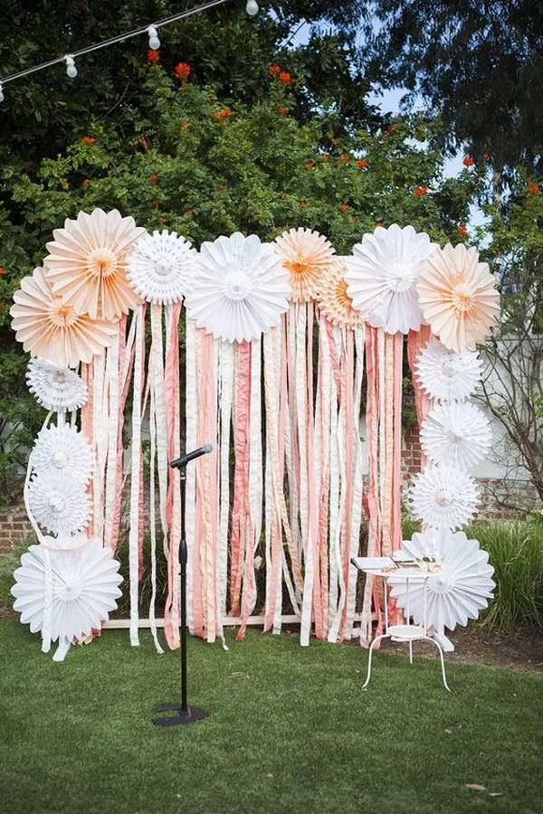 Pinwheel Flowers And Crepe Paper Ribbon Backdrop
