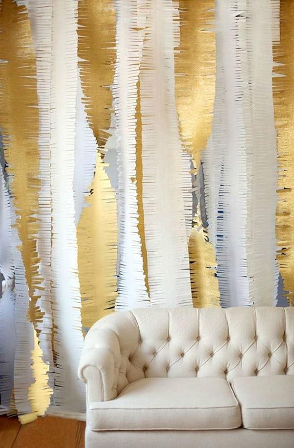 DIY Gold Fringe Backdrop