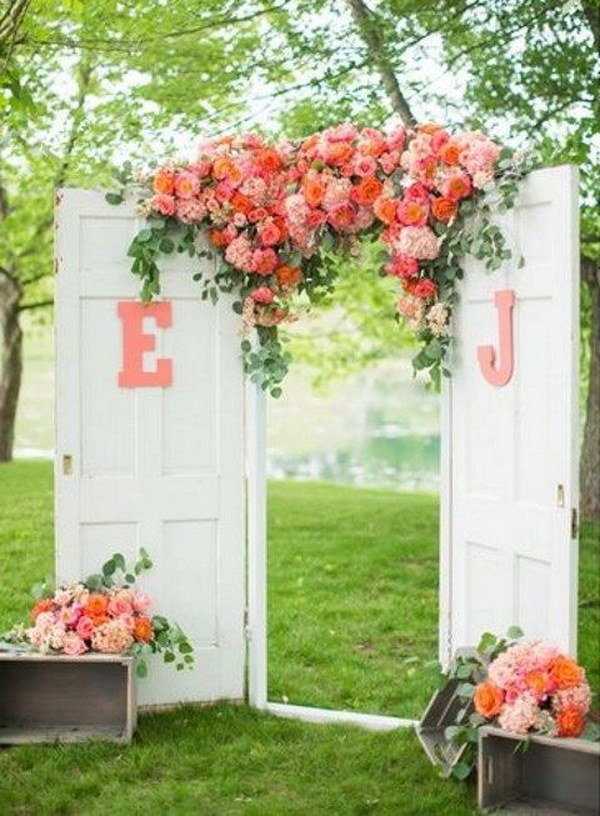 Vintage Doors And Lush Florals Photo Booth Backdrop