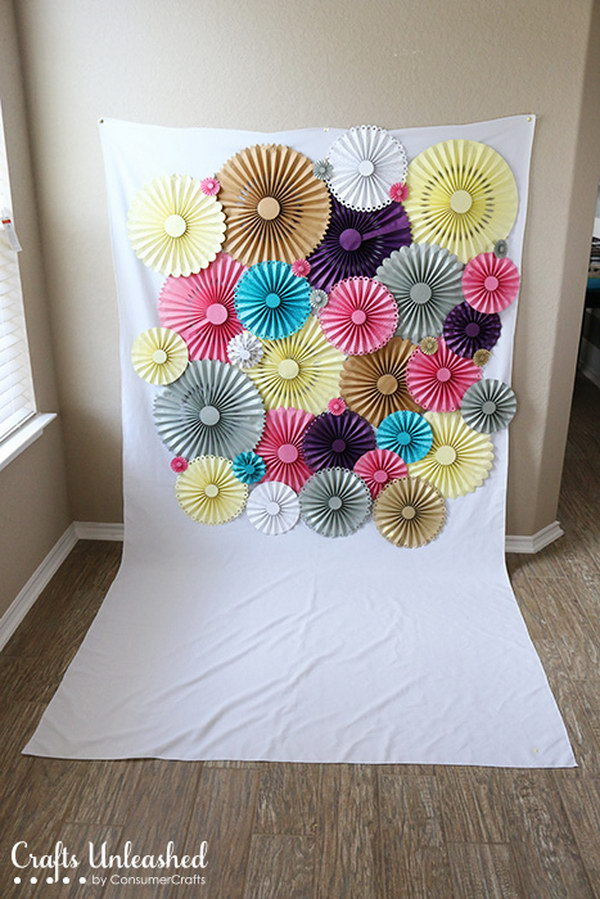 DIY Paper Rosette Photo Booth Backdrop