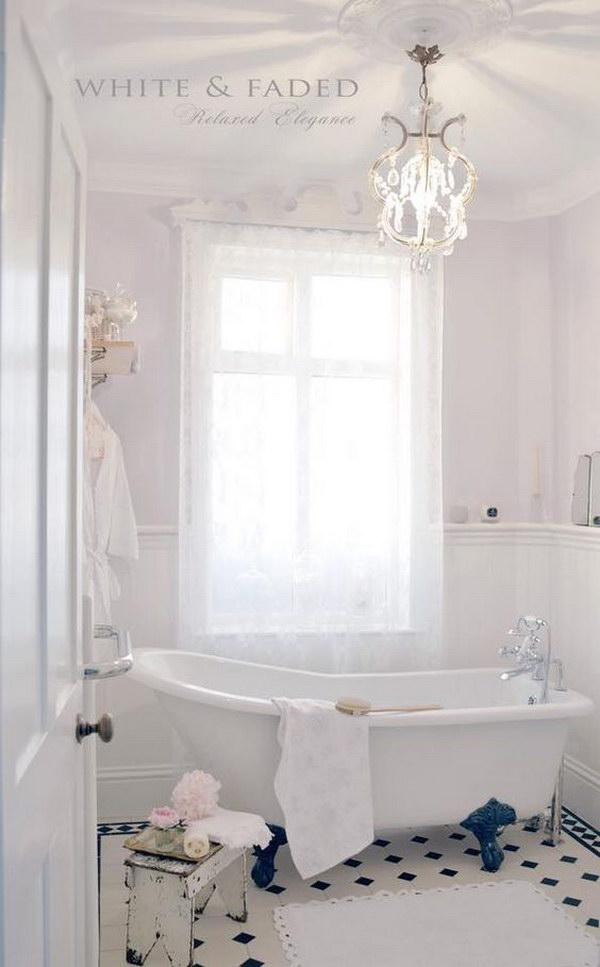 Feminine Shabby Chic Bathroom.