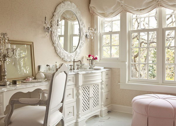 White Shabby Chic Bathroom With Splash Of Pink Color