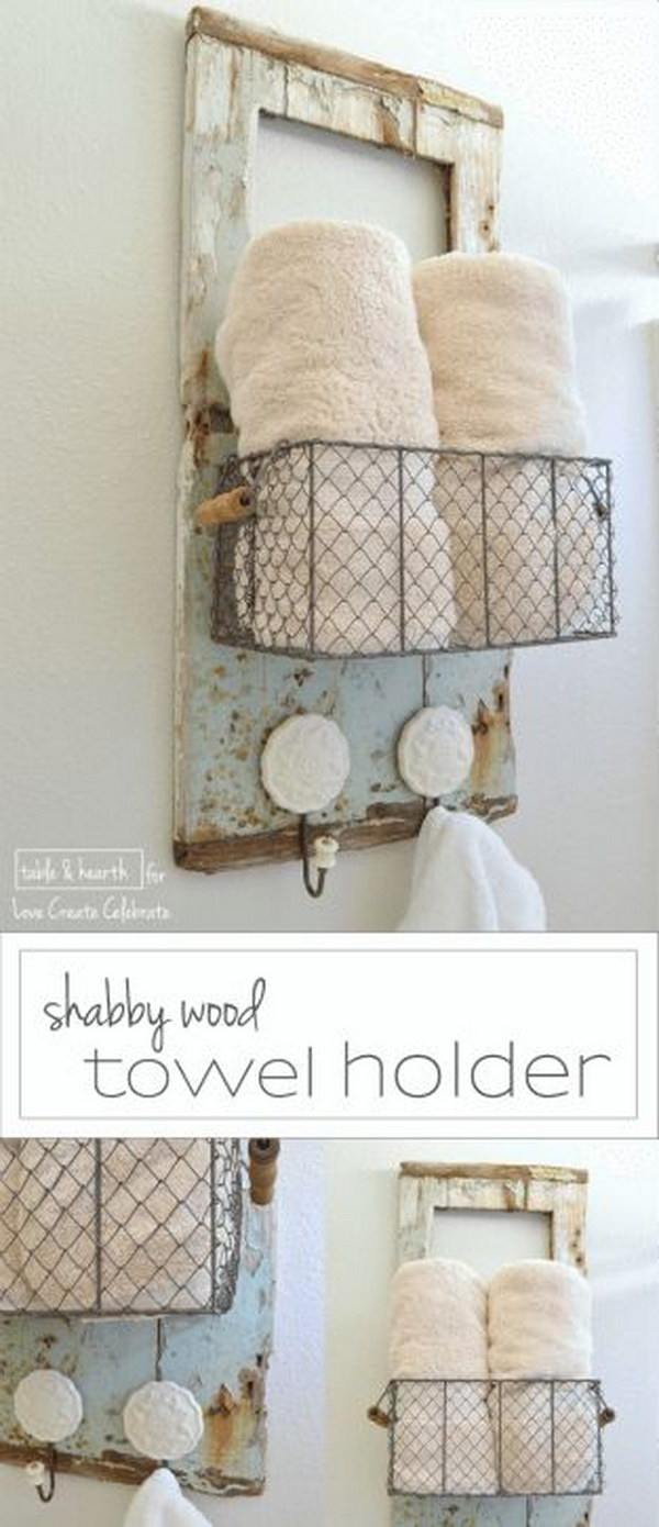 DIY Shabby Chic Wall Organizer And Towel Holder