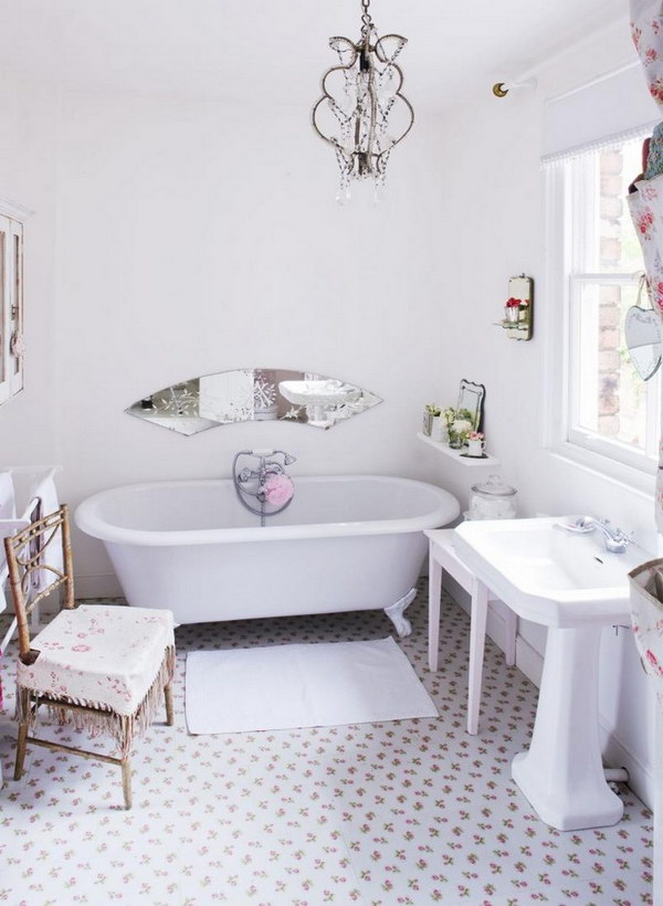 Clean White  Shabby Chic Bathroom With Flower Tiles