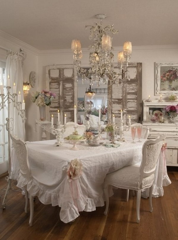 Shabby Chic Fabric Covered Table And Cozy Chandelier.