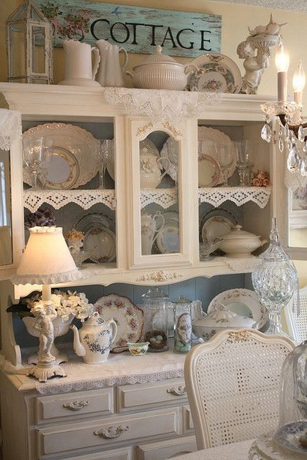 Shabby Chic Kitchen Cabinet In Dining Room.