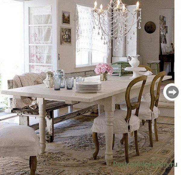 Shabby Chic Dining Room With Stylish Chandelier.