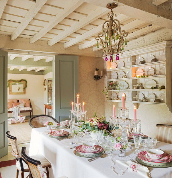 Pastel Color Shabby Chic Dining Room.