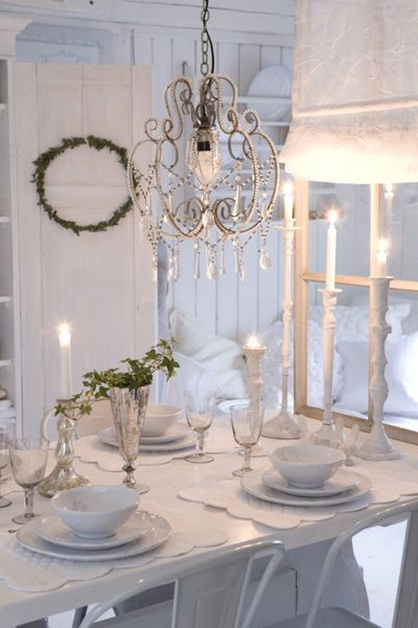 All White Shabby Chic Dining Room with Cute Crystal Chandelier Lighting
