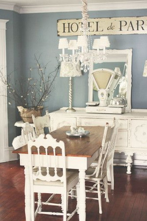 Shabby Chic Paris Blue And White Dining Room.