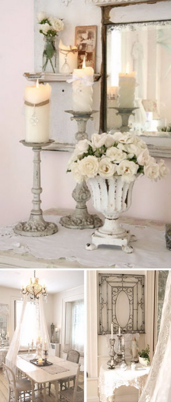 Shabby Chic Candle Stick for Dining Room Decoration.