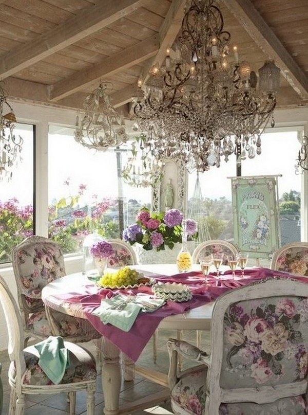 Romantic Shabby Chic Dining Area with Gorgeous Chandeliers