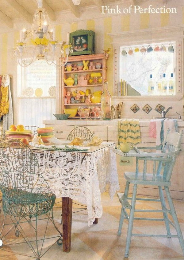 Fantastic Shabby Chic Dining Room With Pink, Yellow and Blue Colors.