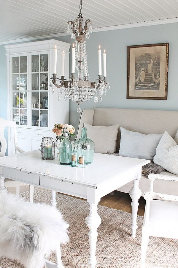 Blue and White Rustic Chic Dining Room
