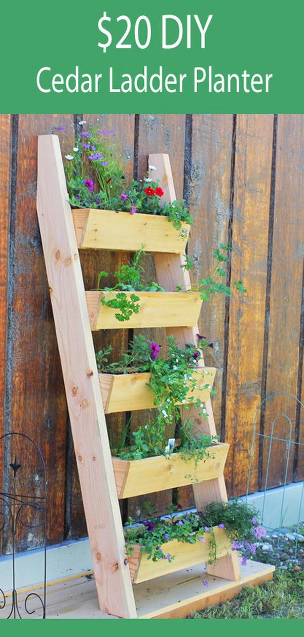 DIY Cedar Ladder Planter