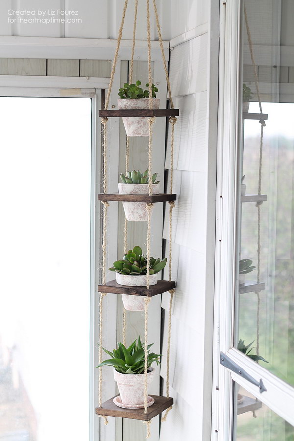 DIY Rustic Vertical Plant Hanger