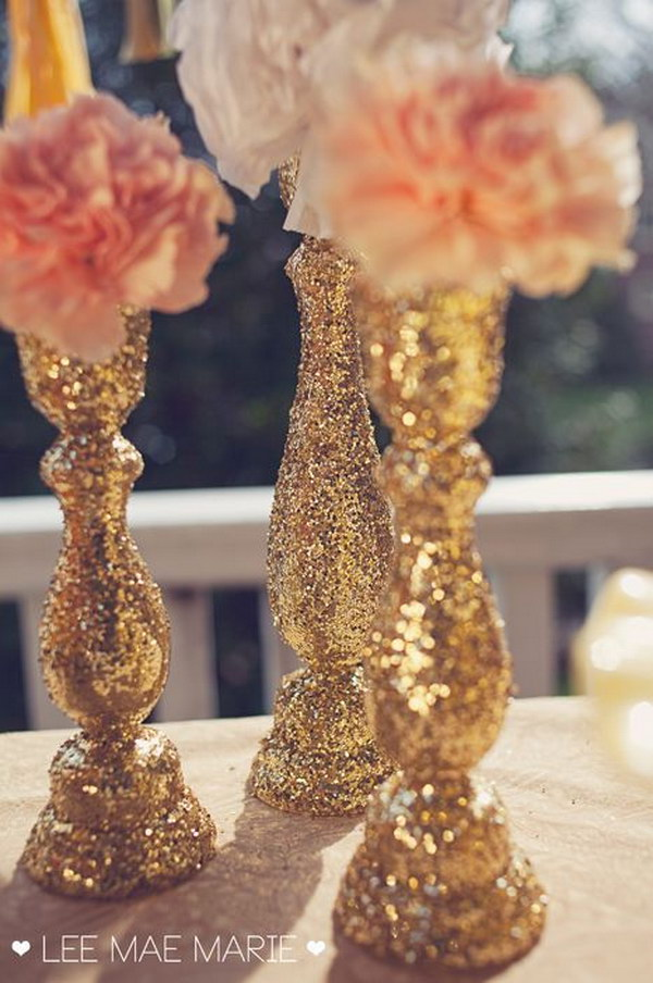 DIY Glittered Candle Sticks.