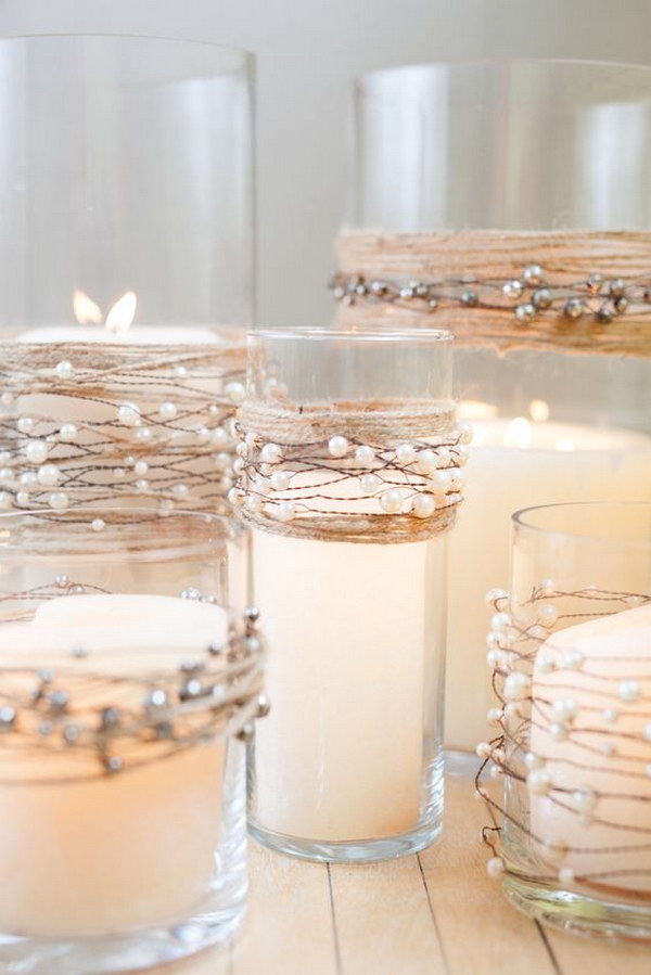 Pearl Beads On Wire Garland With Natural Jute Twine Wedding Centerpieces