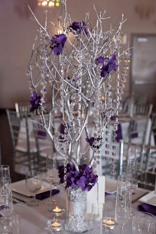 Branches Spray Painted As Centerpieces