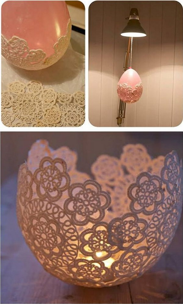 DIY Centerpieces With Lace And Candle