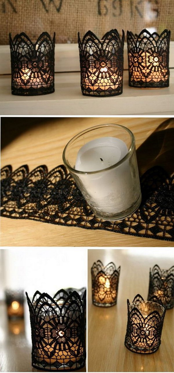 Black Lace Wrapped Votive Candle Holders