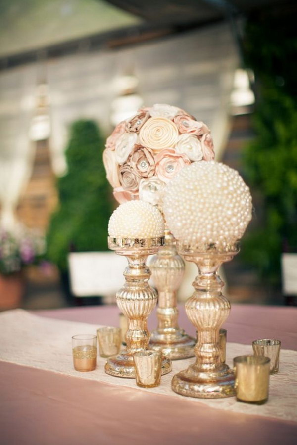 Paper Flowers And Pearl Globe Centerpieces