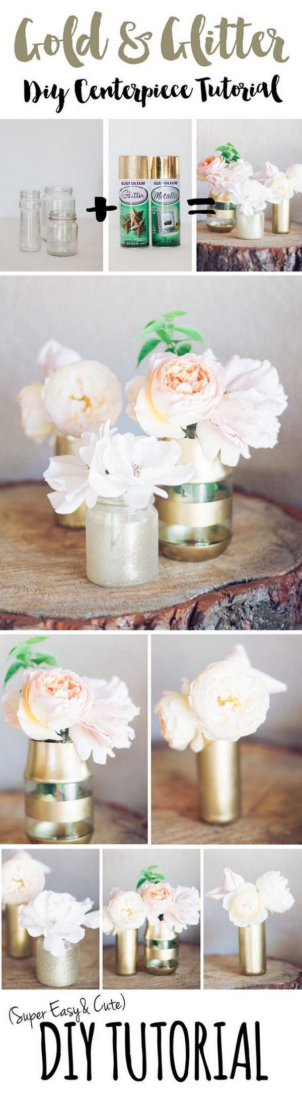 DIY Gold Glitter Bottle Vase