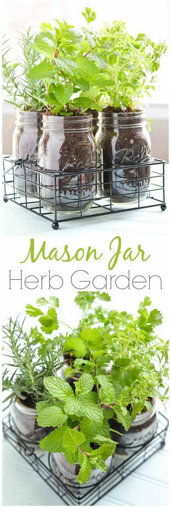 Mason Jar DIY Herb Garden.