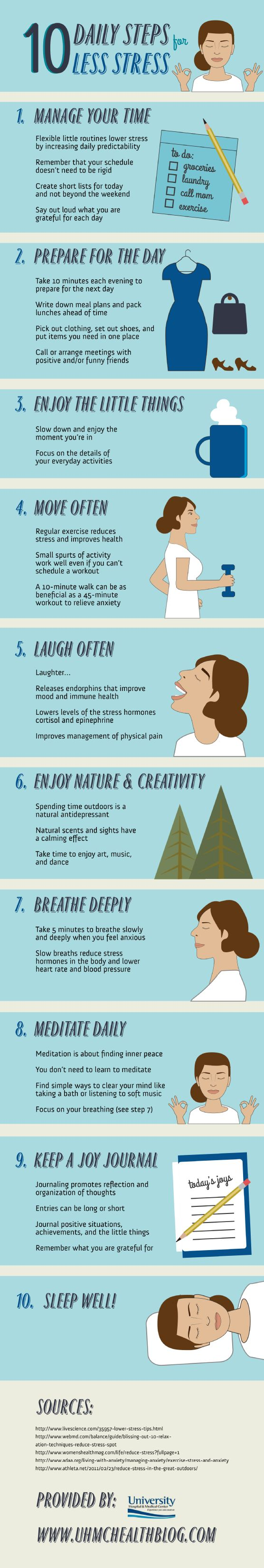 10 Daily Steps for Less Stress.
