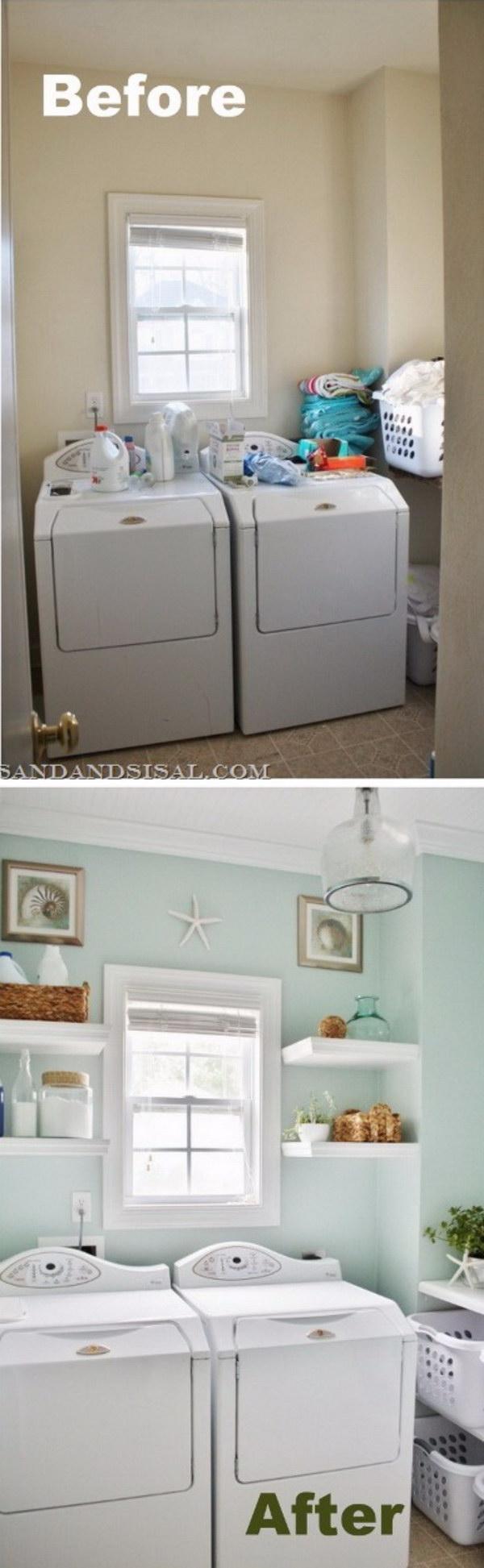 DIY Budget Laundry Room Makeover with Coastal Design Flavor.