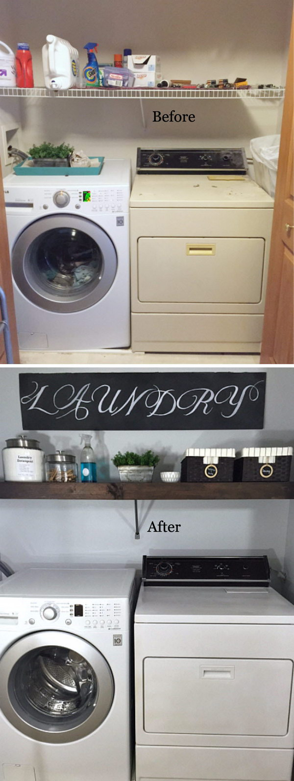 $100 Laundry Room Makeover with a DIY Floating Shelf.
