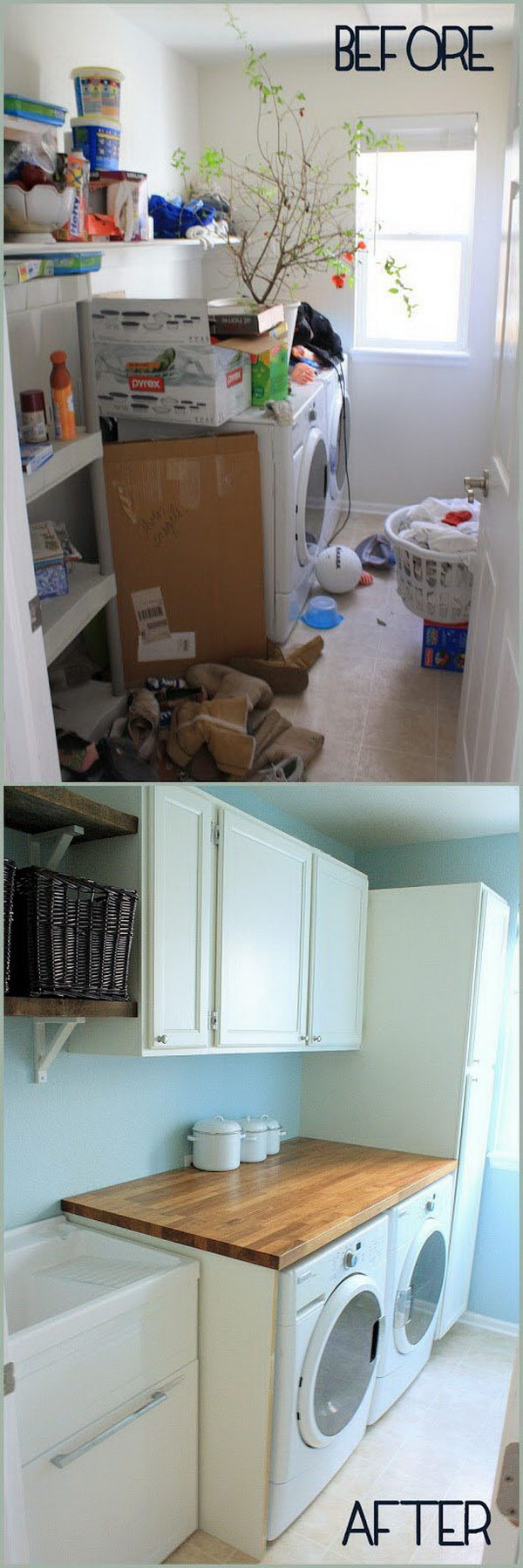 Form Mess To Neat Laundry Room Makeover.