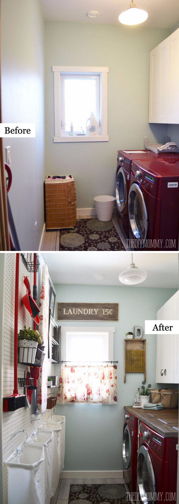 A Small Laundry Room is Made More Functional and Pretty on a Small Budget.