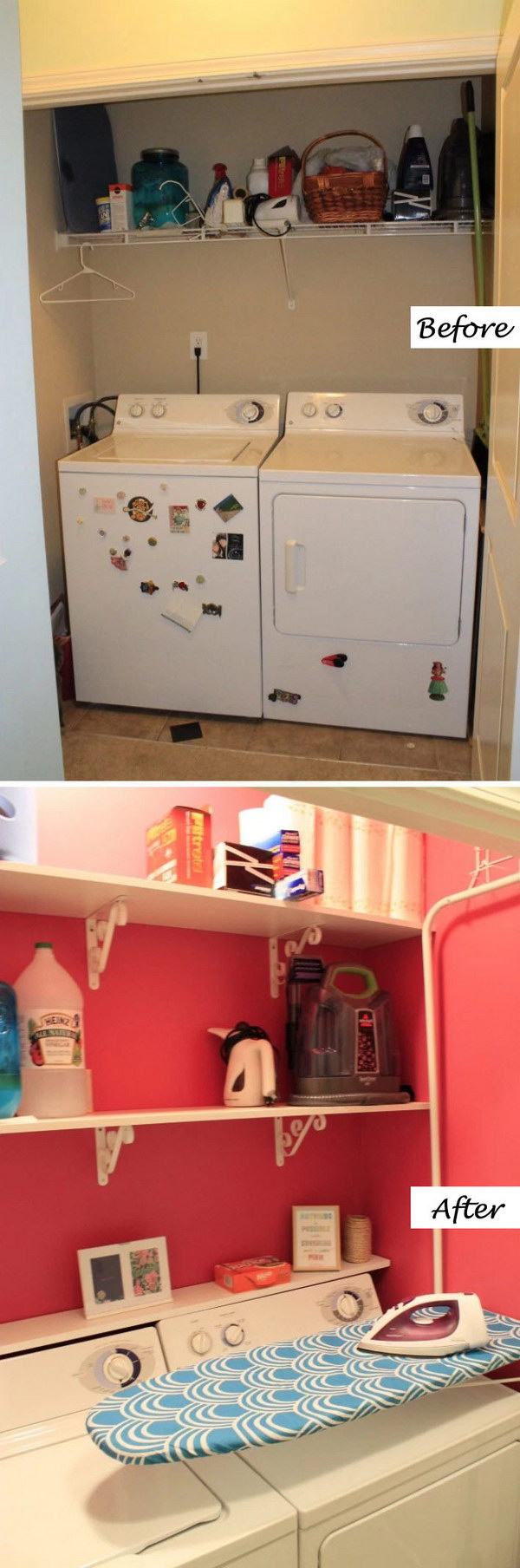 A Hot Pink, Girly Laundry Room Makeover.