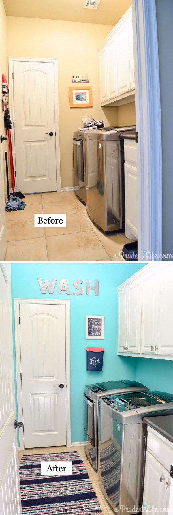 Incredible Makeover Under $100 with Bright Wall Color and the Striped Rug.