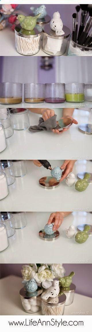 DIY Dollar Store Ceramic Birdies And Candle Jar Makeup Organizer