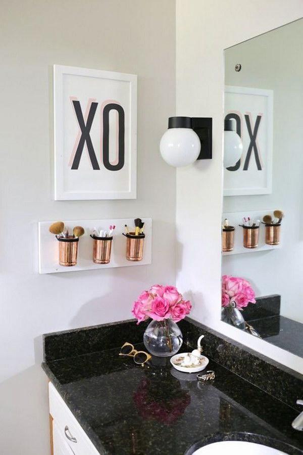 DIY Bathroom Makeup Organizer
