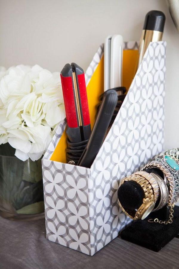 Use Magazine Holders To Keep Hair Utensils Organized