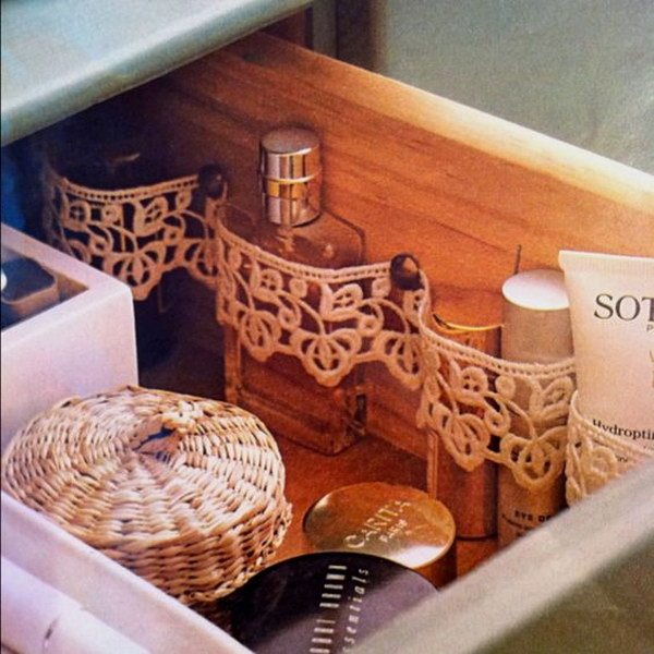 Make Drawer Partitions With Lace